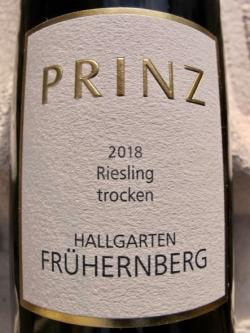 Prinz Hallgartener Frühernberg Riesling trocken 2018